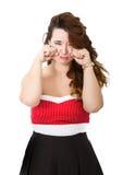 Frau in den roten schlechten Nachrichten lizenzfreie stockfotos