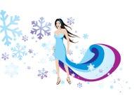 Frau in den Schneeflocken Stockfotos
