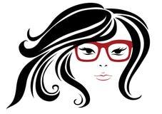 Frau in den stilvollen roten Gläsern Lizenzfreies Stockfoto