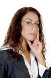Frau in denkender Haltung Stockbilder