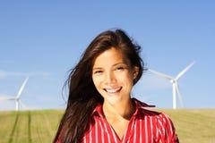 Frau der alternativen Energie Stockfoto