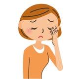 Frau, der Augen von müde sind Stockbild
