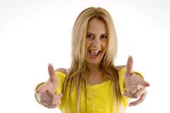 Frau in der flippigen Handgeste Lizenzfreies Stockfoto