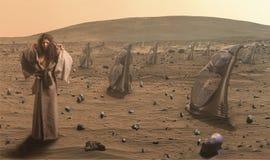 Frau in der futuristischen Wüste Stockfotografie
