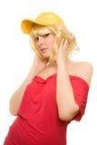 Frau in der gelben Schutzkappe Stockfoto