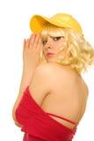 Frau in der gelben Schutzkappe Lizenzfreies Stockbild