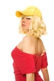 Frau in der gelben Schutzkappe Stockfotos