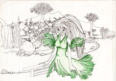 Frau in der grünen natürlichen Landschaft Lizenzfreie Stockfotografie