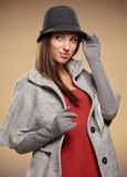 Frau in der Herbstfarbe Beschneidungspfad eingeschlossen Lizenzfreies Stockfoto