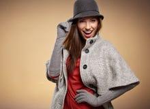 Frau in der Herbstfarbe Beschneidungspfad eingeschlossen Lizenzfreie Stockbilder