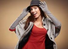 Frau in der Herbstfarbe Beschneidungspfad eingeschlossen Stockbilder