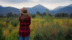 Frau an der Herbstgebirgslandschaft stock video