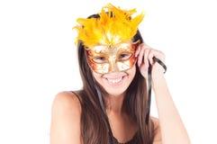 Frau in der Karnevalsschablone Lizenzfreie Stockfotos