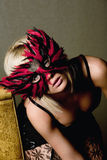 Frau in der Karnevalsschablone Lizenzfreies Stockfoto