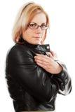 Frau in der Lederjacke Lizenzfreies Stockfoto