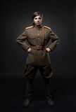 Frau in der Militäruniform Stockbilder