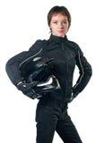 Frau in der Motorradkleidung Stockbild