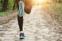 Frau in der Natur Sport, rüttelnd, gesundes Lebensstilskonzept Stockbilder