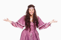 Frau in der Perücke und im Renaissance-Kleid Stockbilder