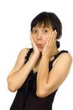 Frau in der reizvollen schwarzen Kleid-Blick-Überraschung Stockfotografie
