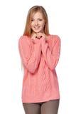 Frau in der rosa Strickjacke Stockbild
