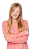 Frau in der rosa Strickjacke Stockfotos