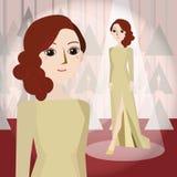 Frau in der Sahnekleidmaskottchenkarikatur, die für irgendwelche groß ist, verwenden Vektor eps10 Stockfotografie
