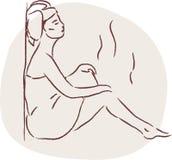 Frau in der Sauna Stockfotografie
