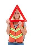 Frau in der Sicherheitsweste Stockfotografie