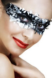 Frau in der silbernen Schablone Stockfoto