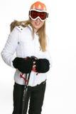 Frau in der Skikleidung lizenzfreie stockfotos