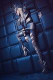 Frau in der Stahlkostüm- und Kopfabnutzung Lizenzfreie Stockbilder