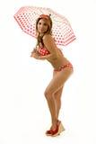 Frau in der Strandabnutzung Lizenzfreie Stockfotos