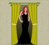 Frau in der Tür Stockfoto
