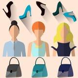 Frau in der unterschiedlichen Kleidung Stockfotos