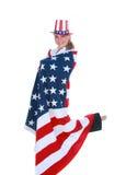 Frau in der USA-Markierungsfahne Stockfoto