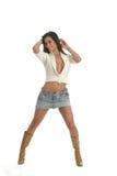 Frau in der weißen Strickjacke stockbilder