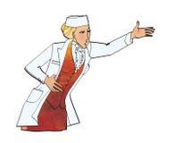 Frau in der weißen Uniform über einem Anzug Berufung, Führung, Berichte schilt Untergebene Apotheke, medizinische Klinik vektor abbildung
