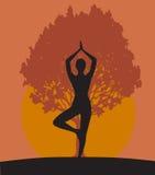 Frau in der Yogabaumhaltung lizenzfreie abbildung
