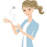 Frau des Insektenstichs Stockfoto