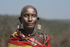 Frau des Massai-Stammes in Tansania Stockbilder