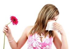 Frau, die Allergie hat lizenzfreies stockfoto