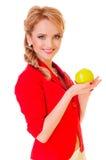 Frau, die Apfel anhält Stockbild