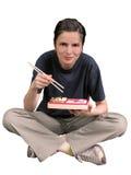 Frau, die asiatische Nahrung isst Lizenzfreies Stockbild