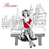 Frau, die auf Bank sitzt stock abbildung