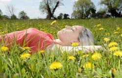Frau, die auf Blumenwiese liegt Stockfoto