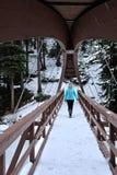 Frau, die auf Brücke über dem gefrorenen Fluss geht Stockfoto