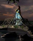 Frau, die auf Brücke steht lizenzfreie abbildung