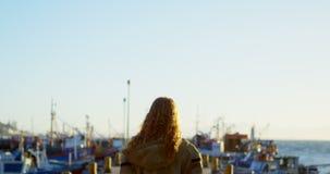 Frau, die auf dem Dock 4k steht stock video footage