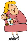 Frau, die auf dem Lack-Läufer isst stock abbildung